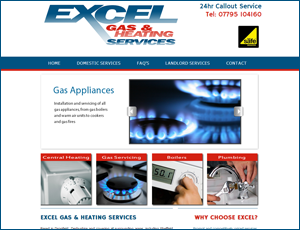 Excel Gas and Heating Services website link and screenshot